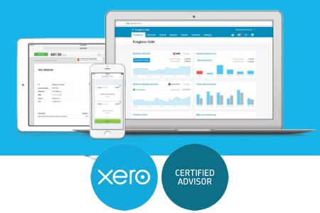 graphic of computer with bookkeeping reporting accounting taxation services xero logo