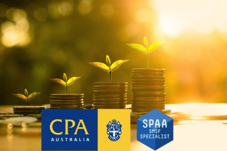 stacked coins with growing leaves self managed super fund accountants
